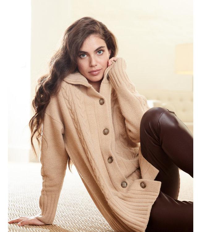 REPEAT cashmere Cardigan light camel wool