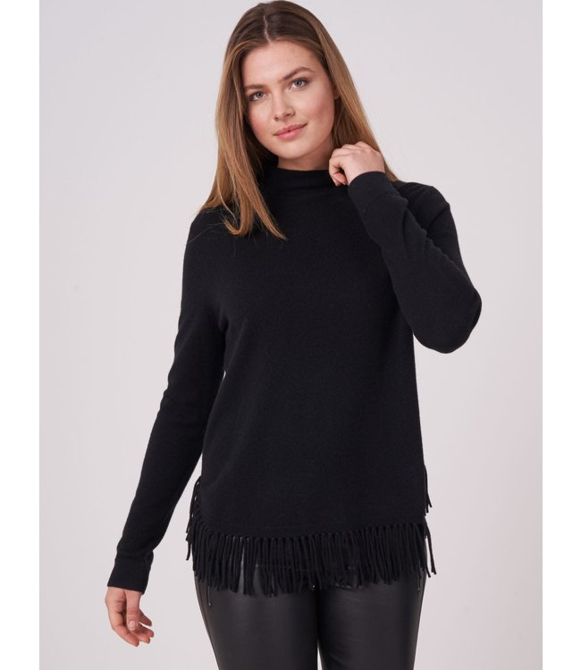 REPEAT cashmere Sweater franjes w/c black