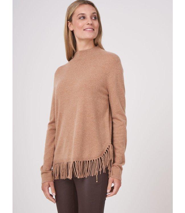 REPEAT cashmere Sweater franjes w/c walnut