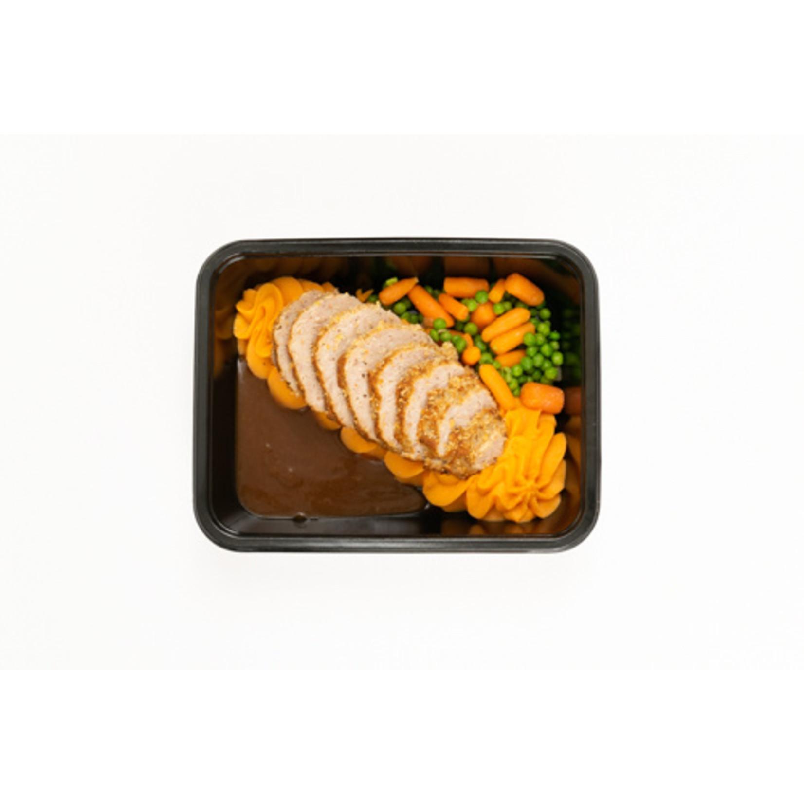 Vleesbrood met Erwten, Wortelen en Puree