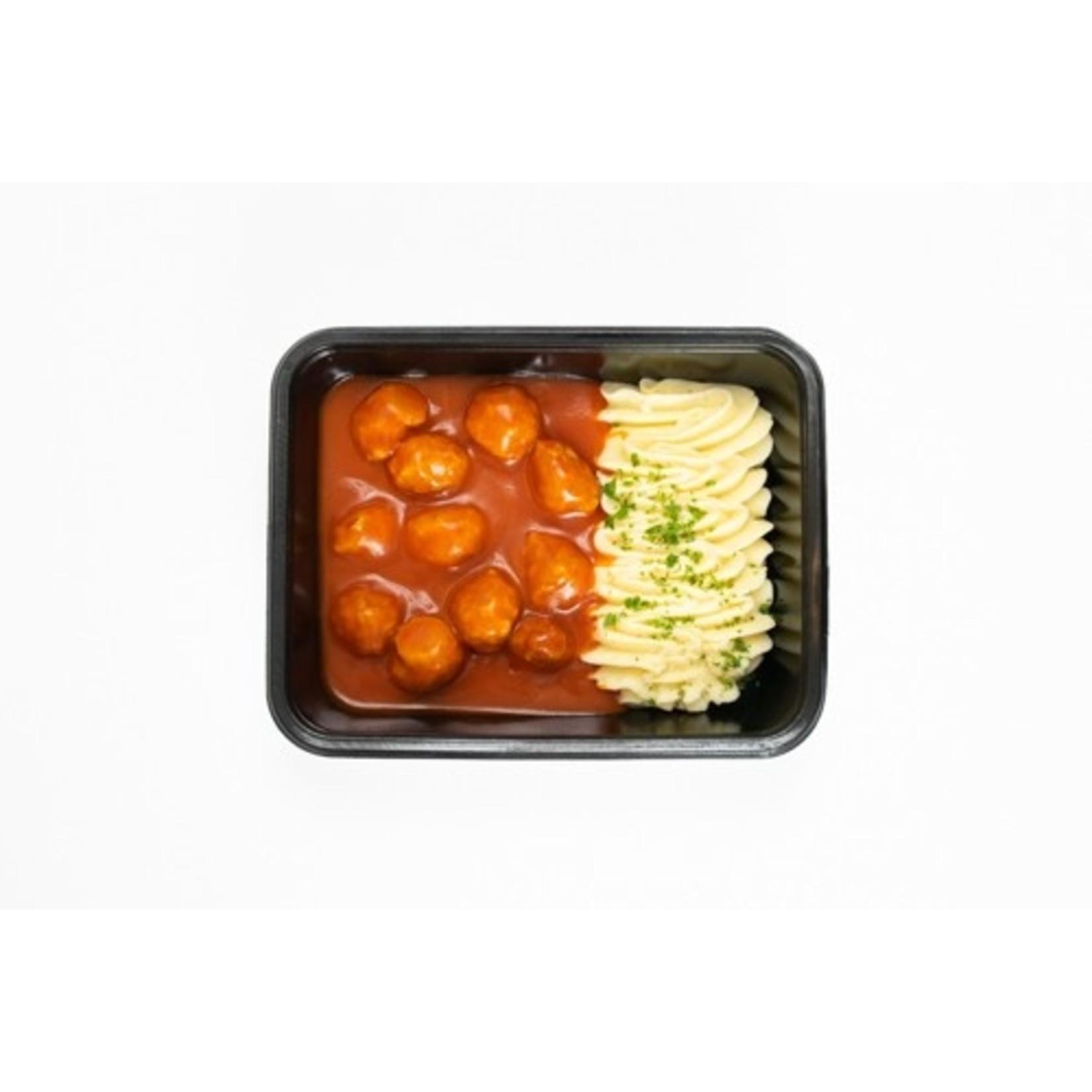 Mini Gehaktballen in Tomatensaus met Puree