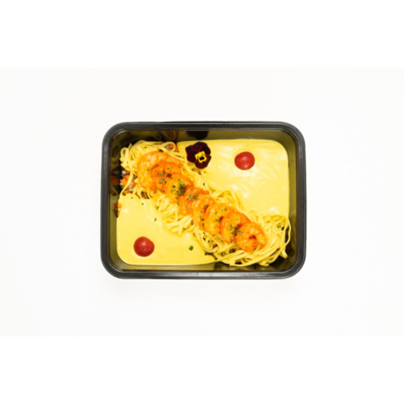 Scampi in zachte Curry met Tagliatelle
