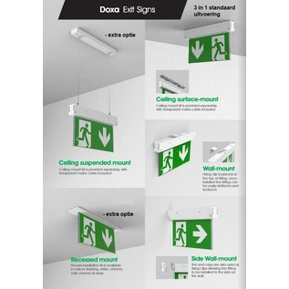 EM - Kosnic Doxa 3 in 1 LED opbouw noodverlichting wit, vluchtwegverlichting en anti-paniekverlichting, 3W, optie pendel en inbouw uitvoering