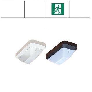 KTP Eco-Plus LED 2,2W, portiek/galerij noodverlichting, 3000 of 4000K, wit/zwart en opaal/helder-frosted (optie: met bewegingssensor en/of lichtsensor)