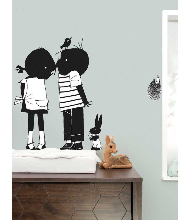 Muurstickers met Jip & Janneke, Kiss XL, 90 x 120 cm