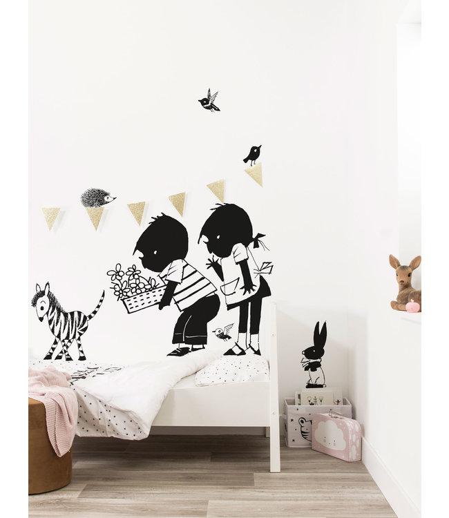 Wall stickers Jip & Janneke, Flower basket XL, 120 x 90 cm