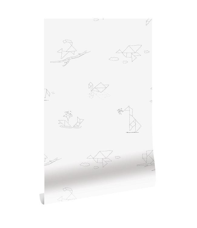 Behang Tangram Animal Sketches, 97.4 x 280 cm