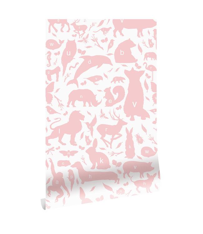 Behang ABC Animals, Roze, 146.1 x 280 cm