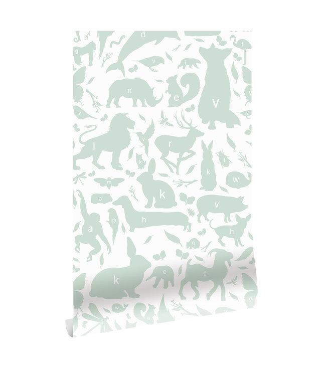 Behang ABC Animals, Groen, 146.1 x 280 cm