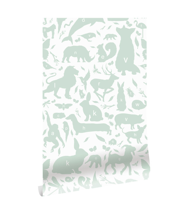 Wallpaper ABC Animals, Green, 146.1 x 280 cm