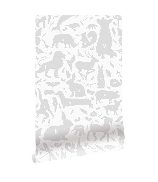 Wallpaper ABC Animals, Light Grey, 146.1 x 280 cm