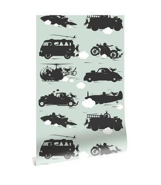 Tapete Vehicles, Grun, 97.4 x 280 cm