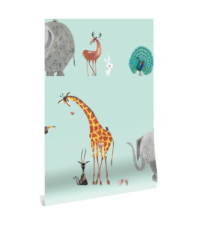 Tapete Fiep Westendorp Animal Mix, Mint, 97.4 x 280 cm