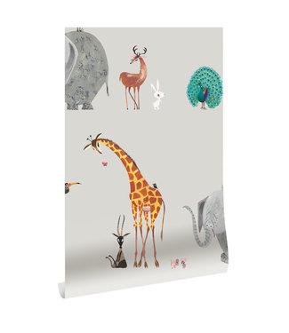 Tapete Fiep Westendorp Animal Mix, Grau, 97.4 x 280 cm