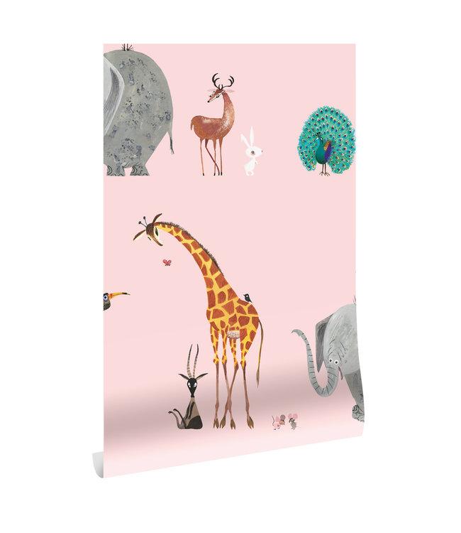 Tapete Fiep Westendorp Animal Mix, Rosa, 97.4 x 280 cm