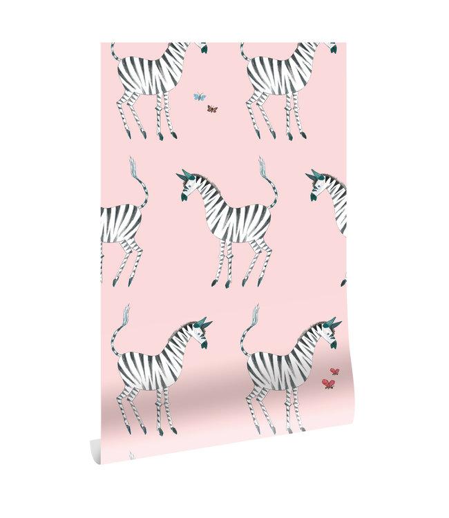 Behang Fiep Westendorp Zebra, Roze, 97.4 x 280 cm
