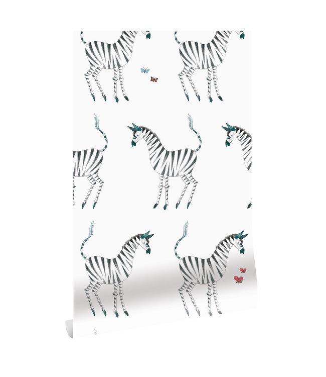Tapete Fiep Westendorp Zebra, Weiß, 97.4 x 280 cm