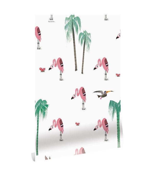 Tapete Fiep Westendorp Flamingo, 97.4 x 280 cm