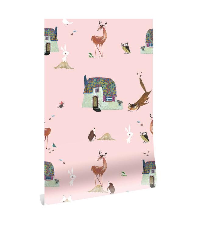 Wallpaper Fiep Westendorp Forest Animals, Pink, 97.4 x 280 cm