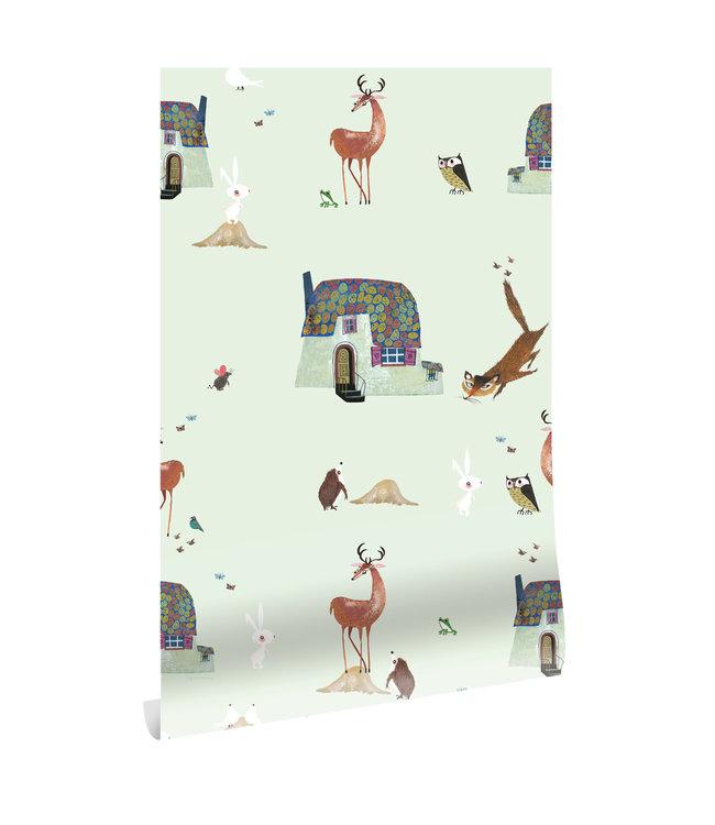 Tapete Fiep Westendorp Forest Animals, Grun, 97.4 x 280 cm