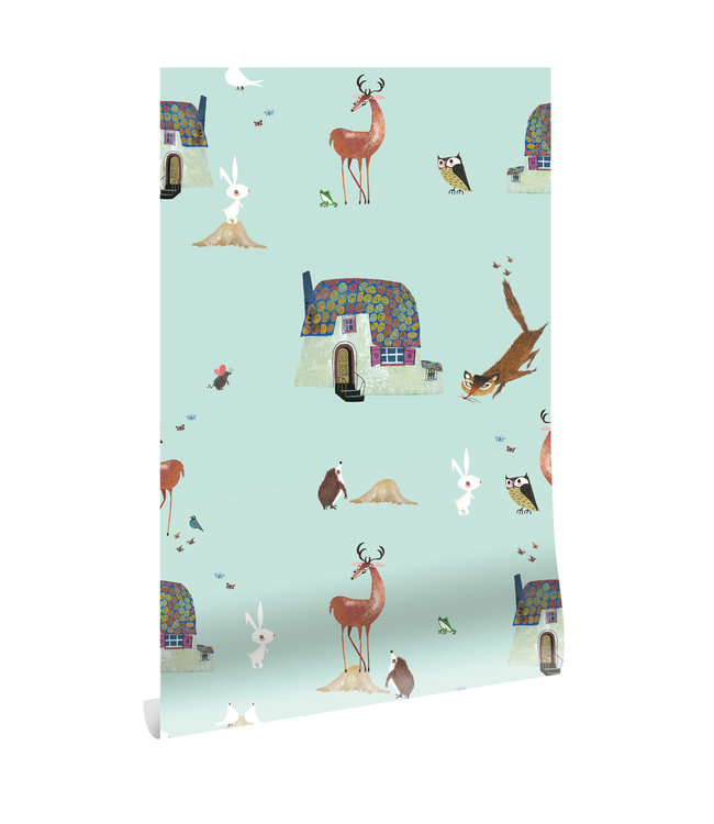 Wallpaper Fiep Westendorp Forest Animals, Mint, 97.4 x 280 cm