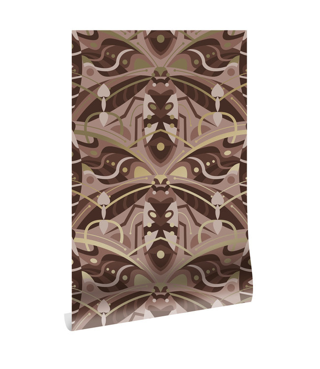 Goud behang Art Déco Animaux, Beetle, Taupe