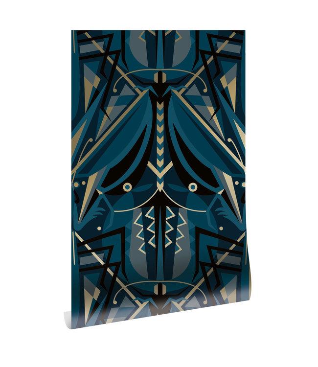 Gold metallic wallpaper Art Déco Animaux, Grasshopper, Blue