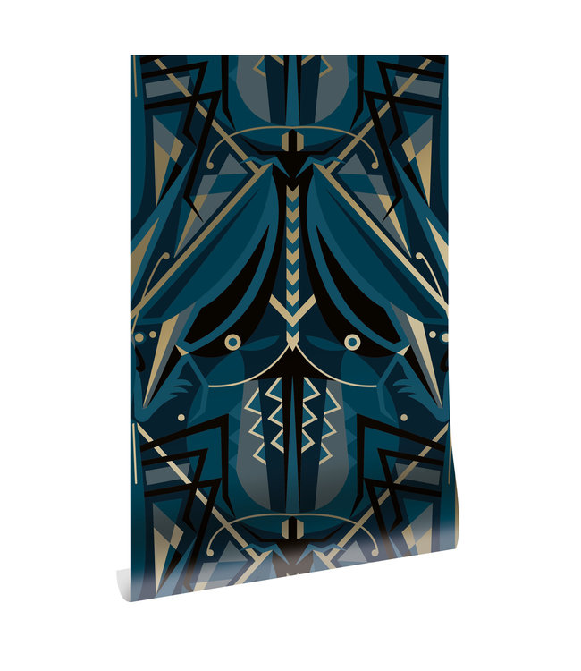 Goud behang Art Déco Animaux, Grasshopper, Blauw, 50 cm x 10 m