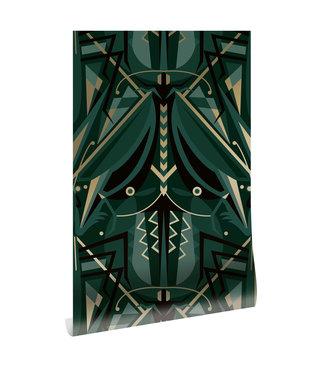 Gold metallic wallpaper Art Déco Animaux, Grasshopper, Green