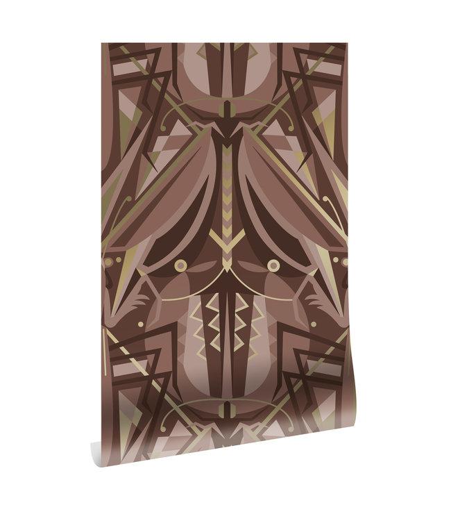 Goud behang Art Déco Animaux, Grasshopper, Taupe, 50 cm x 10 m