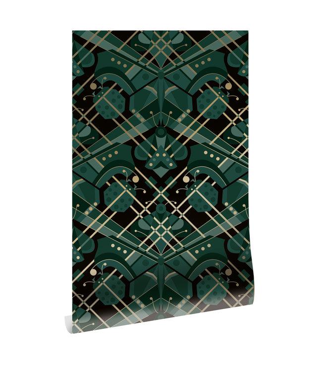 Gold metallic wallpaper Art Déco Animaux, Butterfly, Green