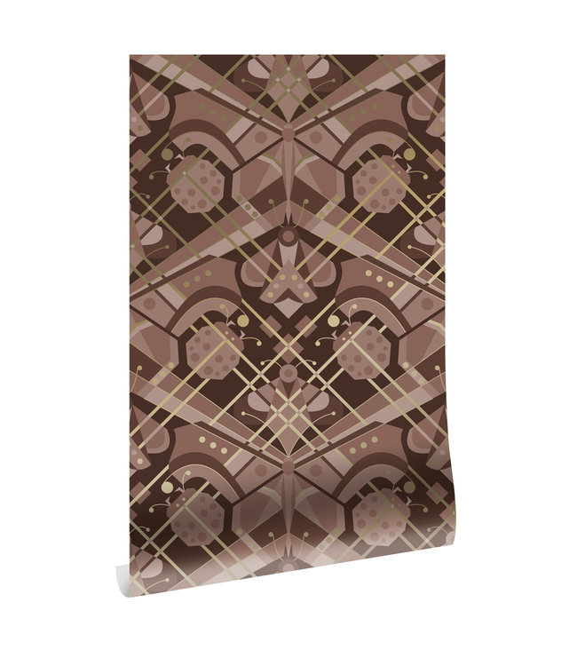 Goud behang Art Déco Animaux, Butterfly, Taupe