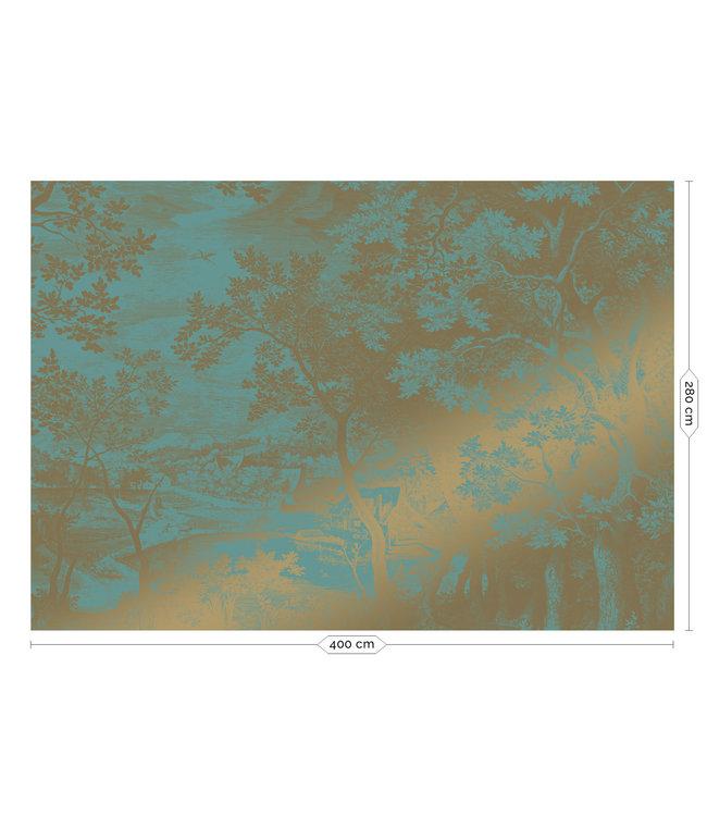 Gold-Tapete Engraved Landscapes