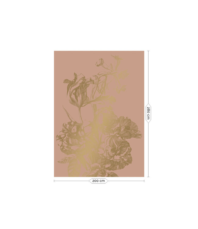Gold-Tapete Engraved Flowers