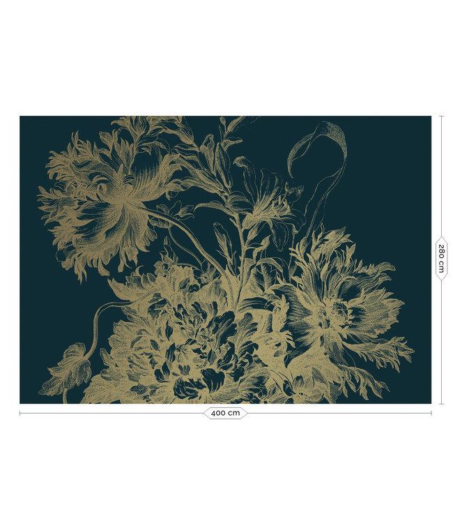 Goud behang Engraved Flowers