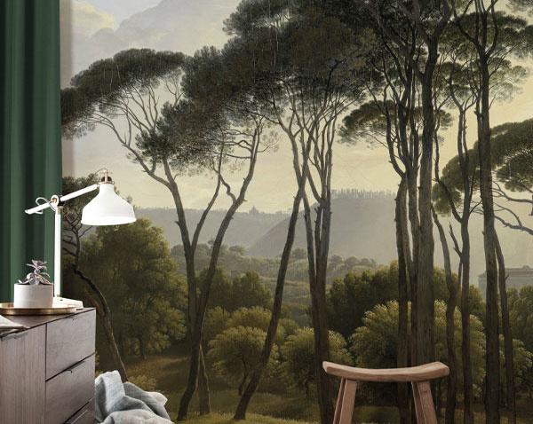Behang geschilderde landschappen
