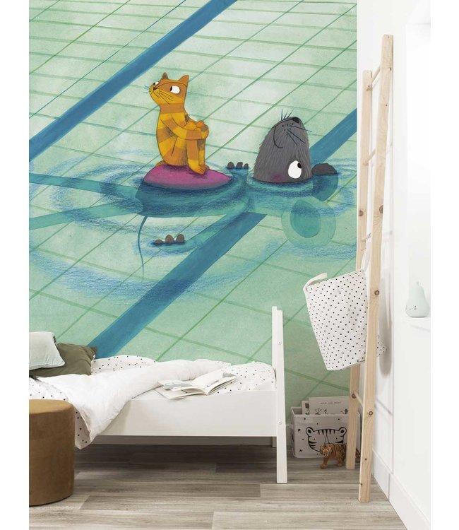 Fotobehang Swimming Lesson, 389.6 x 280 cm