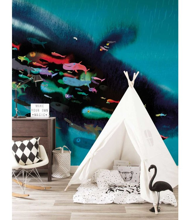 Wall Mural Swimming with Whale, 389.6 x 280 cm