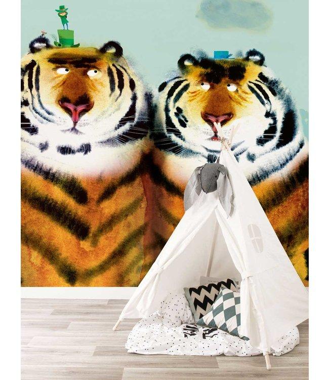 Fotobehang Two Tigers, 389.6 x 280 cm