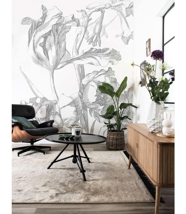 Wall Mural Engraved Flowers