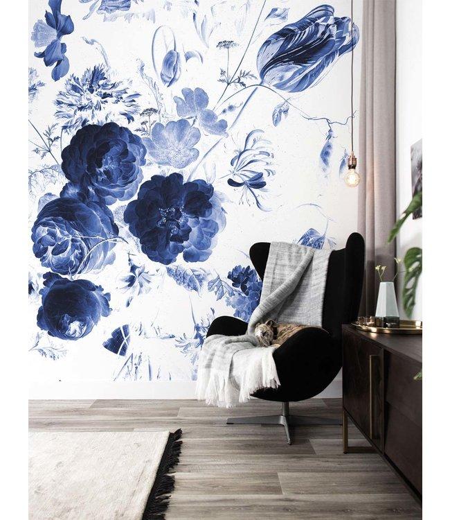Wall Mural Royal Blue Flowers