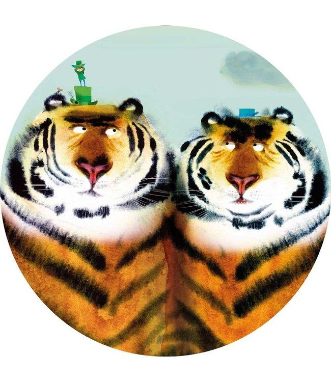 Tapetenpaneel rund Two Tigers