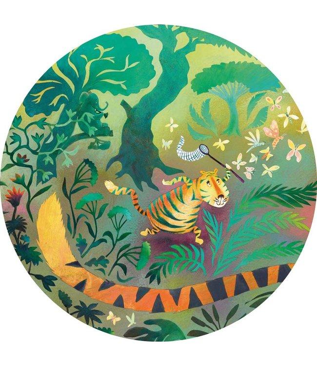 Wallpaper Circle Hunting Tiger