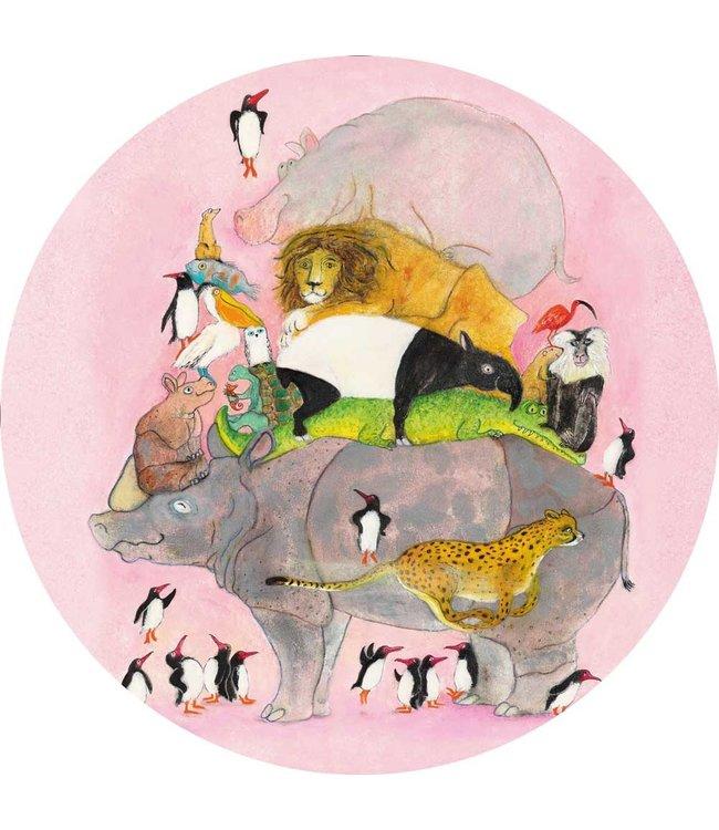 Tapetenpaneel rund Jumping Pinguins