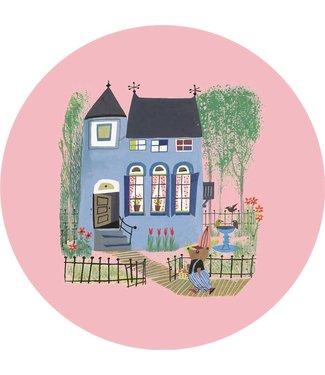 Tapetenpaneel rund Bear with Blue House