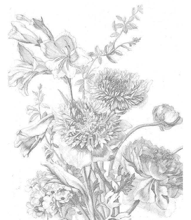 Behangpaneel Engraved Flowers, 142.5 x 180 cm