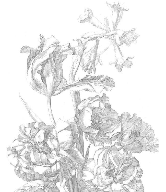 Wallpaper Panel Engraved Flowers, 142.5 x 180 cm