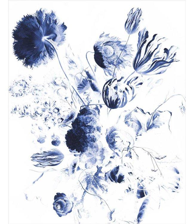 Behangpaneel Royal Blue Flowers, 142.5 x 180 cm