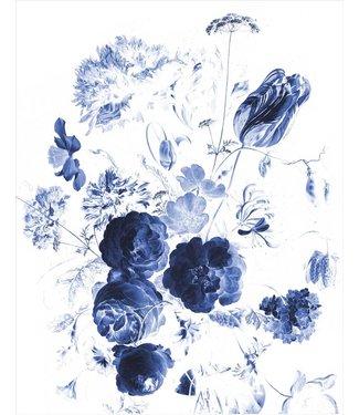 Wallpaper Panel Royal Blue Flowers, 142.5 x 180 cm