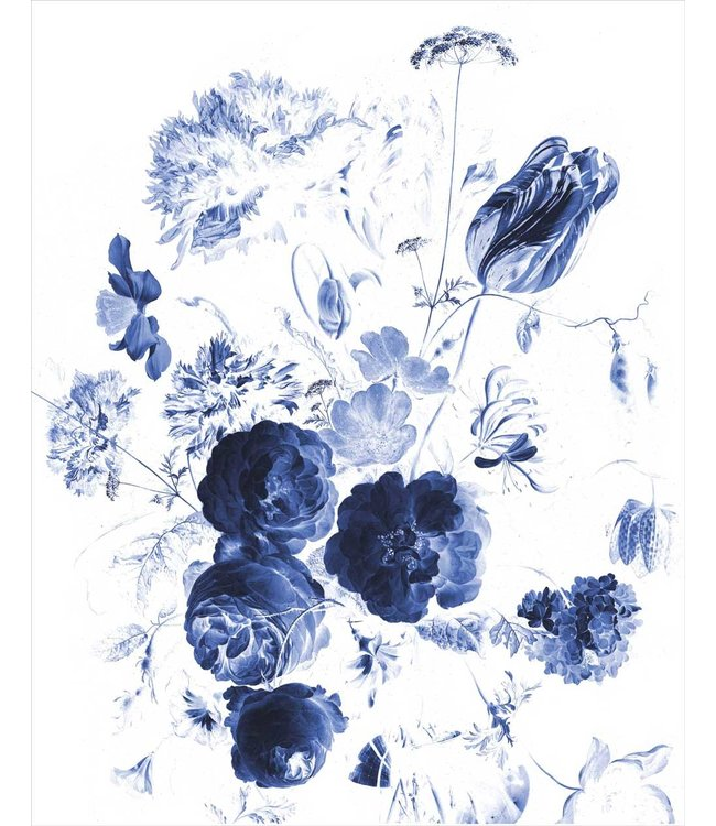 Tapetenpaneel Royal Blue Flowers, 142.5 x 180 cm